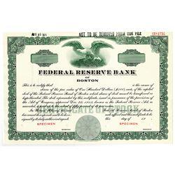 Federal Reserve Bank of Boston 1971 Specimen Stock Certificate