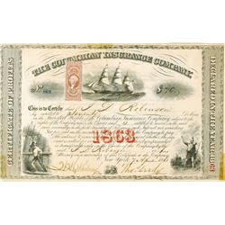 Columbian Insurance Co. 1865 I/U Certificate of Profits