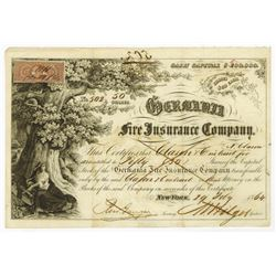 Germania Fire Insurance Co., 1864 I/C Stock Certificate.