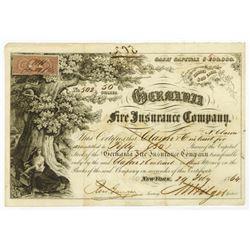 Germania Fire Insurance Co., 1864 I/C Stock Certificate.
