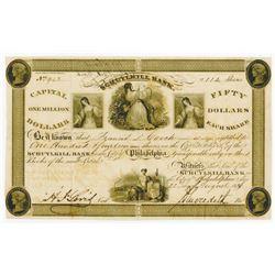 Schuylkill Bank 1836, I/U Stock Certificate