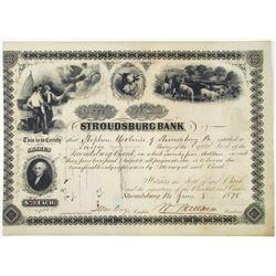 Stroudsburg Bank, 1878 I/U Stock Certificate