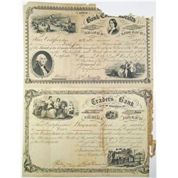 Traders Bank of the City of Richmond, 1860 and Bank of the Commonwealth, 1860 I/U Stock Certificate