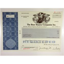 Bear Stearns Companies Inc. 1987 Specimen Bond