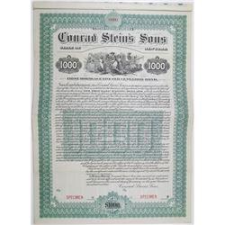 Conrad Stein's Sons 1902 Specimen Brewery Bond