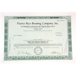 Puerto Rico Brewing Co., Inc. 1962 Specimen Stock Certificate