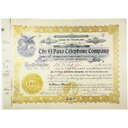 El Paso Telephone Co. 1904 I/C Stock Certificate