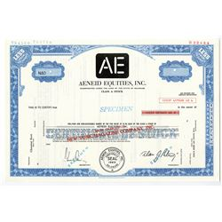 "Aeneid Equities, Inc. - ""New York Magazine Company, Inc."",  1969  Specimen Stock Certificate"