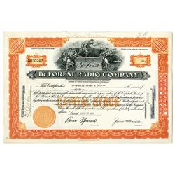 De Forest Radio Co. 1931 I/U Stock Certificate
