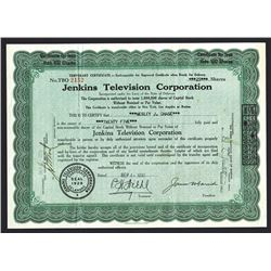 Jenkins Television Corp., 1930 Historic TV Pioneer Stock Certificate