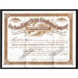 Iron Range Electric Telephone Co., 1906 I/C Stock Certificate.