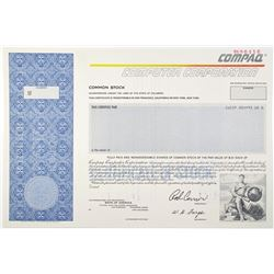 Compaq Computer Corp. 1989 Specimen Stock Certificate