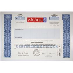 McAfee.com Corp. Specimen Stock Certificate