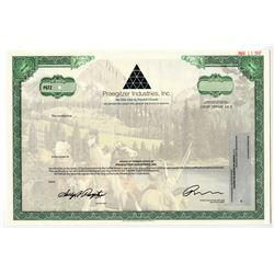 Praegitzer Industries, Inc., 1997 Specimen Stock Certificate