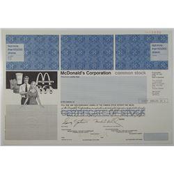 McDonald's Corp. 1990 Specimen Stock Certificate