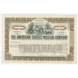 American Textile Woolen Co. ca. 1910-20 Specimen Stock Certificate