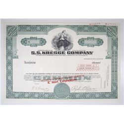 "S.S. Kresge Co. Transition Stock Certificate with Name Change to ""K Mart"", 1975 Specimen Stock Certi"