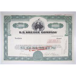 "S.S. Kresge Co. Transition Stock Certificate with Name Change to ""K Mart"", 1975 Specimen Stock Certi"