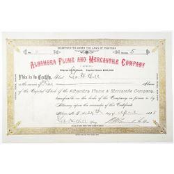 Alhambra Flume & Mercantile Co. 1888 Stock Certificate