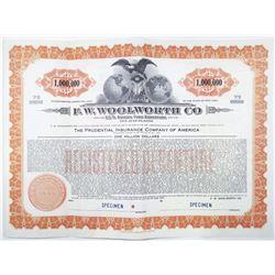 "F. W. Woolworth Co. 1940 ""1 Million Dollar"" Specimen Bond"