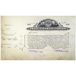 Swank Hardware Co.. 1910-50's Progress Proof Stock Certificate