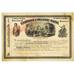 Eastman College Bank 1907 I/U Stock Certificate