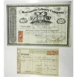 Mercantile Library Co. of Philadelphia, 1866 and 1869 Stock Certificate Pair