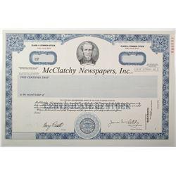 McClatchy Newspapers, Inc. 1990 Specimen Stock Certificate