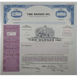 Time Warner Inc. 1990 Specimen Stock Certificate Pair