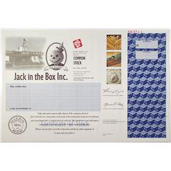 Jack in the Box Inc. 2000 Specimen Stock Certificate