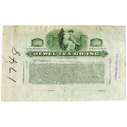 Jewel Tea Co., Inc., 1916 Proof Stock Certificate
