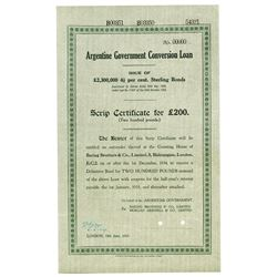 Argentine Government Conversion Loan, 1934 Specimen Bond Payable to Baring Brothers.