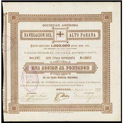 Navegacion del Alto Parana, 1889 I/U Bond