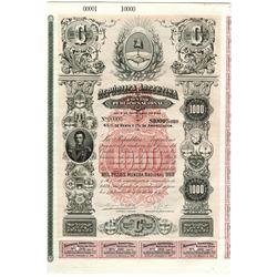 Republica Argentina, Fondo Publico Nacional, 1887 Specimen Bond
