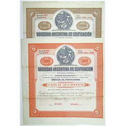 Sociedad Argentina de Edificacion 1907 Specimen Stock Certificate Pair