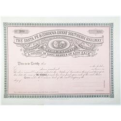 Santa Fe & Cordova Great Southern Railway 1899 Specimen Stock Certificate