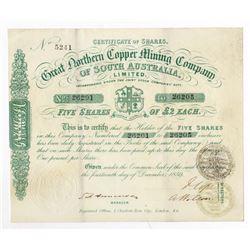 Great Northern Copper Mining Co. of South Australia, Ltd., 1859 I/U Stock Certificate