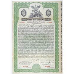 City of Vienna 1927 Specimen Bond Rarity