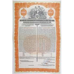 Austrian Government Guaranteed Loan of 1923-43, Issued in 1923 Specimen Bond