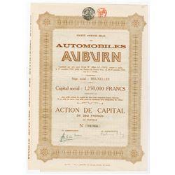 Automobiles Auburn, 1925 I/U Belgium Stock Certificate