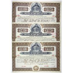 Banco Mercantil, ca. 1900-1910 Trio of Specimen Bonds