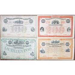Credito Hipotecario de Bolivia, 1900-1920 Specimen Bond Quartet