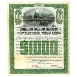 Canadian Pacific Railway, 1920 Specimen Bond