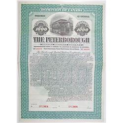 Peterborough Radial Railway Co. 1905 Specimen Bond