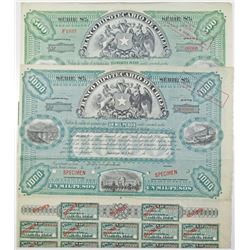 Banco Hipotecario de Chile, Series 8%, 1900-20 Specimen Bond Pair