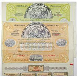 Banco Hipotecario de Chile, Series B 8%, 1900-20 Specimen Bond Pair