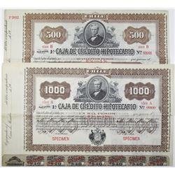 Caja de Credito Hipotecario, 1900-1920 Specimen Bond Pair