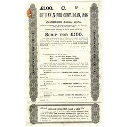 Chilian 5 Per Cent Loan, 1896 Specimen Loan Scrip