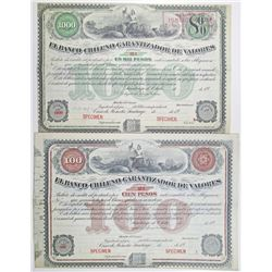 El Banco Chileno Garantizador de Valores, Series 2a, 1900-1920 Specimen Bond Pair