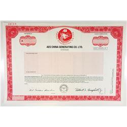 AES China Generating Co., Ltd., 1994 Specimen Stock Certificate